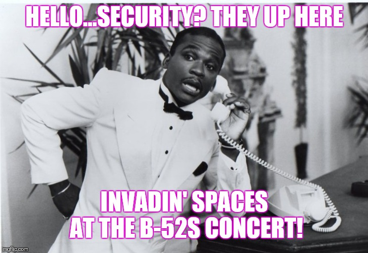 HELLO...SECURITY? THEY UP HERE INVADIN' SPACES AT THE B-52S CONCERT! | image tagged in jerome benton on phone | made w/ Imgflip meme maker