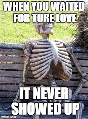 Waiting Skeleton Meme | WHEN YOU WAITED FOR TURE LOVE IT NEVER SHOWED UP | image tagged in memes,waiting skeleton | made w/ Imgflip meme maker