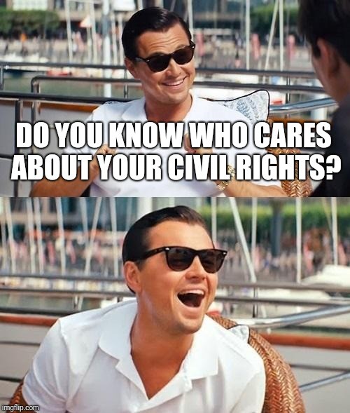 Meanwhile in the u.s. parliament... | DO YOU KNOW WHO CARES ABOUT YOUR CIVIL RIGHTS? | image tagged in memes,leonardo dicaprio wolf of wall street | made w/ Imgflip meme maker