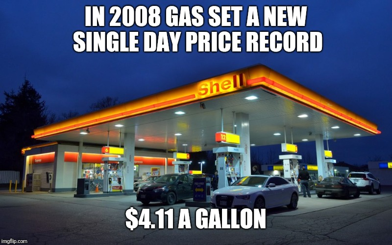 IN 2008 GAS SET A NEW SINGLE DAY PRICE RECORD $4.11 A GALLON | made w/ Imgflip meme maker