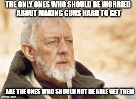 Obi Wan Kenobi Meme | THE ONLY ONES WHO SHOULD BE WORRIED ABOUT MAKING GUNS HARD TO GET ARE THE ONES WHO SHOULD NOT BE ABLE GET THEM | image tagged in memes,obi wan kenobi | made w/ Imgflip meme maker