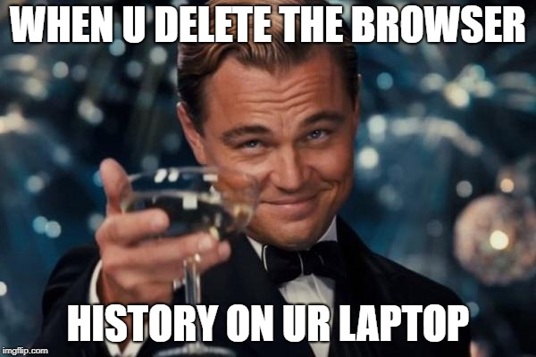 Leonardo Dicaprio Cheers Meme | WHEN U DELETE THE BROWSER HISTORY ON UR LAPTOP | image tagged in memes,leonardo dicaprio cheers | made w/ Imgflip meme maker