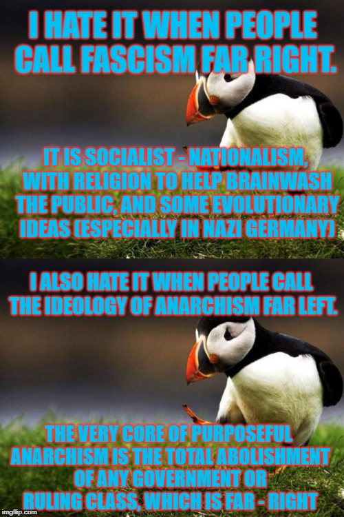 The world has things really mixed up. People just don't know what they are talking about. | I HATE IT WHEN PEOPLE CALL FASCISM FAR RIGHT. IT IS SOCIALIST - NATIONALISM, WITH RELIGION TO HELP BRAINWASH THE PUBLIC, AND SOME EVOLUTIONA | image tagged in unpopular opinion puffin,both still suck | made w/ Imgflip meme maker