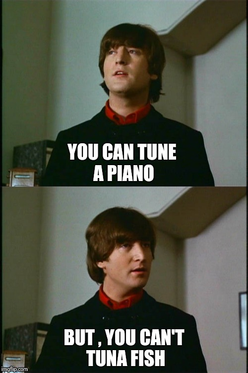 Philosophical John | YOU CAN TUNE A PIANO BUT , YOU CAN'T TUNA FISH | image tagged in philosophical john | made w/ Imgflip meme maker