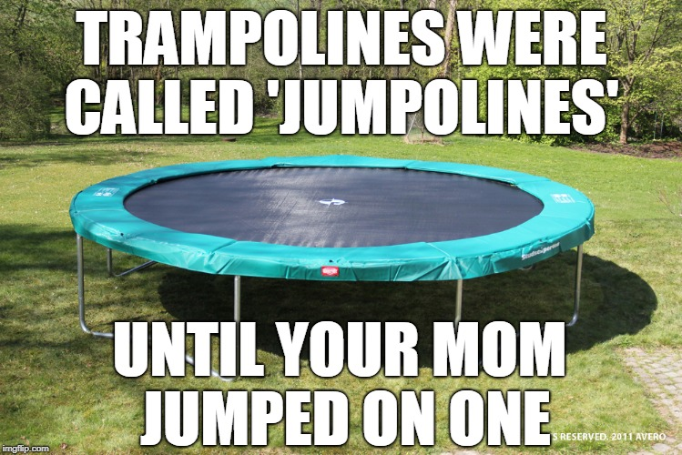 trampoline  | TRAMPOLINES WERE CALLED 'JUMPOLINES' UNTIL YOUR MOM JUMPED ON ONE | image tagged in trampoline,your mom,yo momma,tramp,memes | made w/ Imgflip meme maker