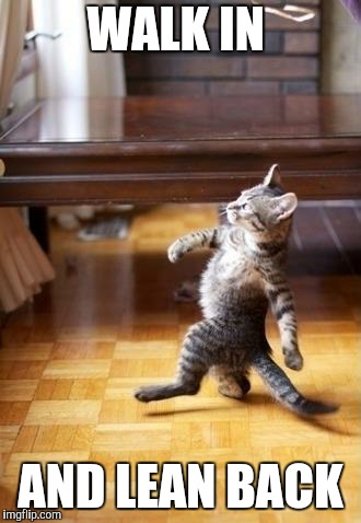 Cool Cat Stroll Meme | WALK IN AND LEAN BACK | image tagged in memes,cool cat stroll | made w/ Imgflip meme maker