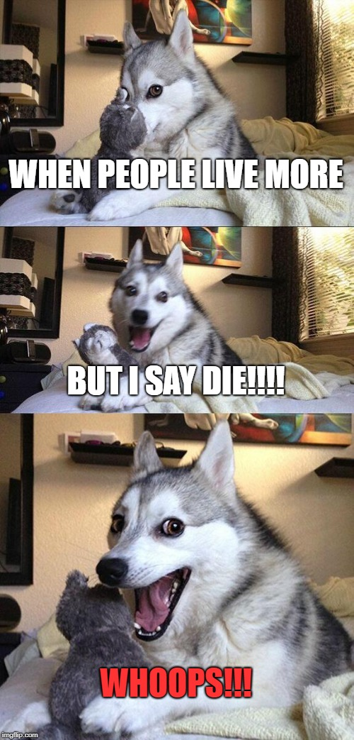 Bad Pun Dog Meme | WHEN PEOPLE LIVE MORE BUT I SAY DIE!!!! WHOOPS!!! | image tagged in memes,bad pun dog | made w/ Imgflip meme maker