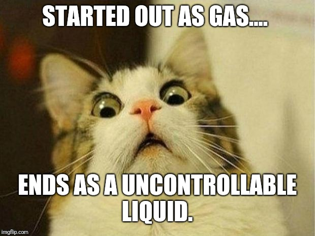 Scared Cat Meme | STARTED OUT AS GAS.... ENDS AS A UNCONTROLLABLE LIQUID. | image tagged in memes,scared cat | made w/ Imgflip meme maker