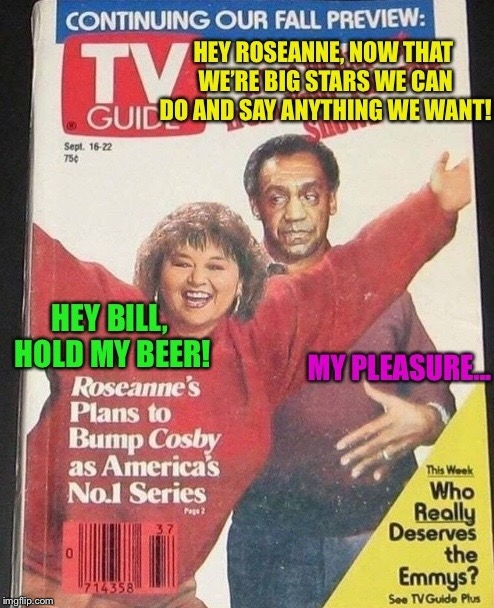 Coming this fall: the rapist and the racist in-Rose is the New Black! | A | image tagged in roseanne,bill cosby,tv shows,poor choices,funny memes | made w/ Imgflip meme maker