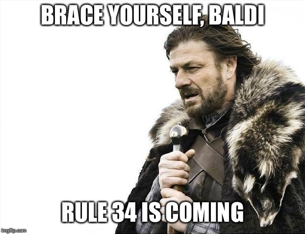 Rule 35: If there isn't lewds of it, lewds will be made. | BRACE YOURSELF, BALDI RULE 34 IS COMING | image tagged in memes,brace yourselves x is coming,baldis basics,rule 34 | made w/ Imgflip meme maker