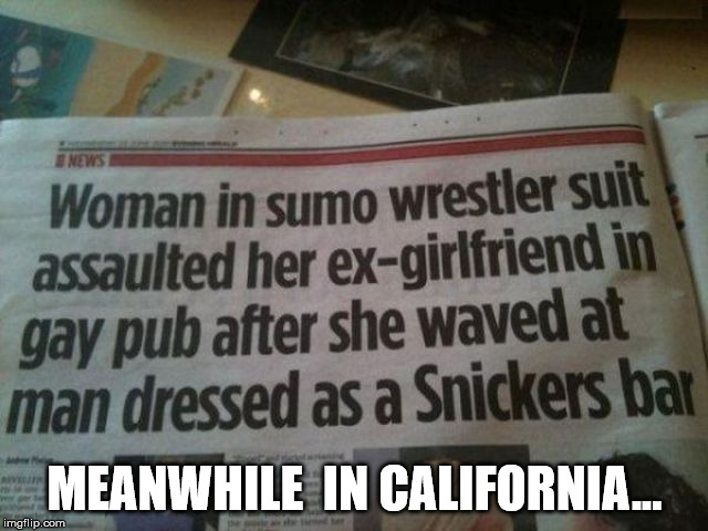 Cali | MEANWHILE  IN CALIFORNIA... | image tagged in california,sumo,eat a snickers | made w/ Imgflip meme maker