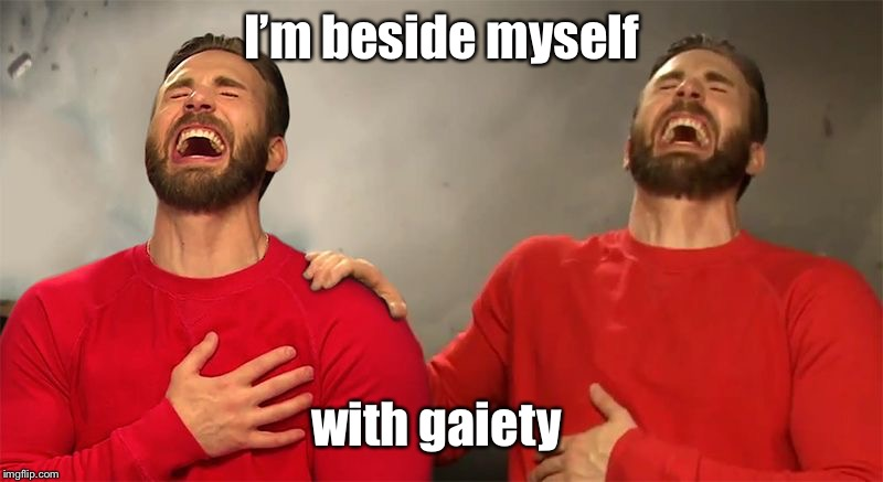 I'm beside myself with gaiety | made w/ Imgflip meme maker