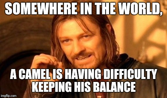 One Does Not Simply Meme | SOMEWHERE IN THE WORLD, A CAMEL IS HAVING DIFFICULTY KEEPING HIS BALANCE | image tagged in memes,one does not simply | made w/ Imgflip meme maker