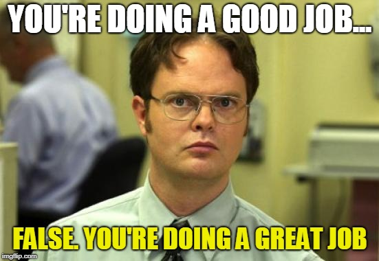 Dwight Schrute | YOU'RE DOING A GOOD JOB... FALSE. YOU'RE DOING A GREAT JOB | image tagged in memes,dwight schrute | made w/ Imgflip meme maker