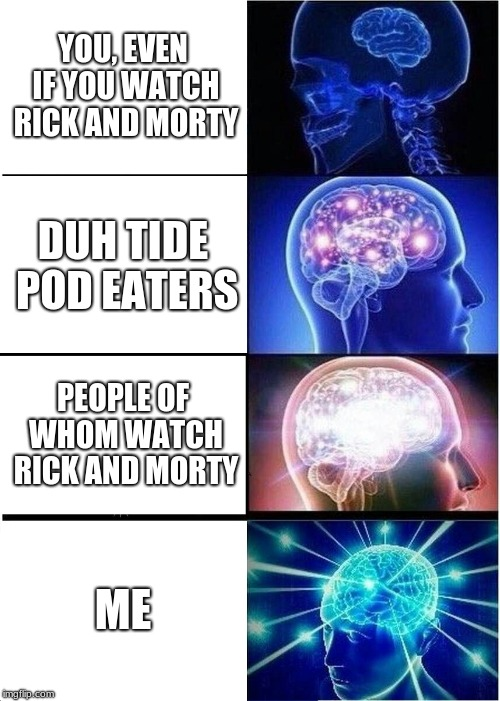 Expanding Brain Meme | YOU, EVEN IF YOU WATCH RICK AND MORTY DUH TIDE POD EATERS PEOPLE OF WHOM WATCH RICK AND MORTY ME | image tagged in memes,expanding brain | made w/ Imgflip meme maker