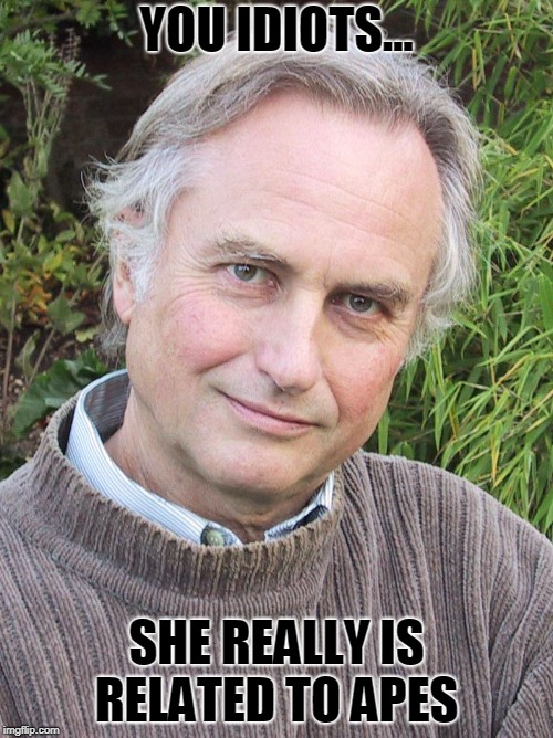 Richard Dawkins |  YOU IDIOTS... SHE REALLY IS RELATED TO APES | image tagged in richard dawkins | made w/ Imgflip meme maker
