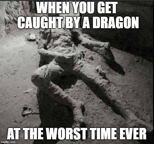 WHEN YOU GET CAUGHT BY A DRAGON AT THE WORST TIME EVER | image tagged in skyrim,popeii,burnt | made w/ Imgflip meme maker
