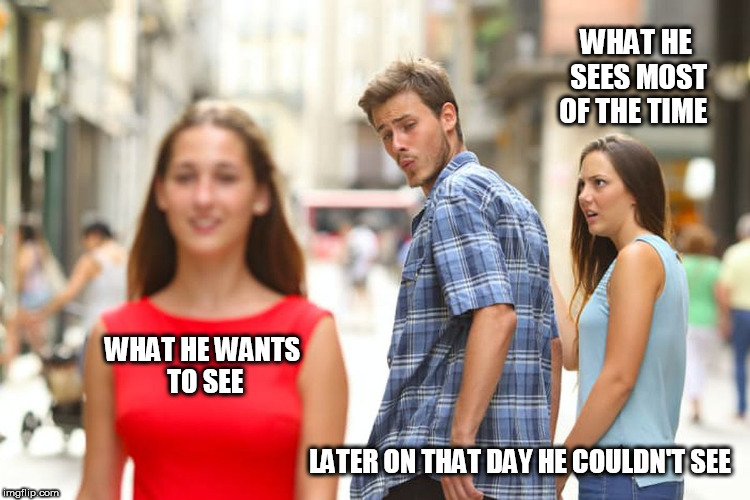 Distracted Boyfriend Meme | WHAT HE WANTS TO SEE LATER ON THAT DAY HE COULDN'T SEE WHAT HE SEES MOST OF THE TIME | image tagged in memes,distracted boyfriend | made w/ Imgflip meme maker