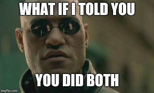 Matrix Morpheus Meme | WHAT IF I TOLD YOU YOU DID BOTH | image tagged in memes,matrix morpheus | made w/ Imgflip meme maker
