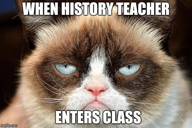Grumpy Cat Not Amused Meme | WHEN HISTORY TEACHER ENTERS CLASS | image tagged in memes,grumpy cat not amused,grumpy cat | made w/ Imgflip meme maker