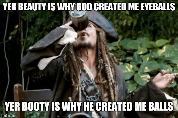Pirate  |  YER BEAUTY IS WHY GOD CREATED ME EYEBALLS; YER BOOTY IS WHY HE CREATED ME BALLS | image tagged in pirate | made w/ Imgflip meme maker