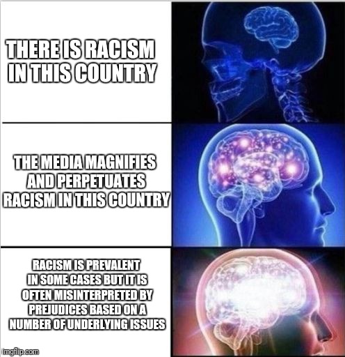 THERE IS RACISM IN THIS COUNTRY THE MEDIA MAGNIFIES AND PERPETUATES RACISM IN THIS COUNTRY RACISM IS PREVALENT IN SOME CASES BUT IT IS OFTEN | image tagged in expanded woke 3 mind brain | made w/ Imgflip meme maker