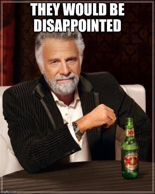 The Most Interesting Man In The World Meme | THEY WOULD BE DISAPPOINTED | image tagged in memes,the most interesting man in the world | made w/ Imgflip meme maker