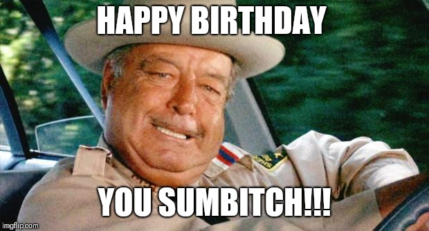 Buford T. Justice | HAPPY BIRTHDAY YOU SUMB**CH!!! | image tagged in buford t justice | made w/ Imgflip meme maker