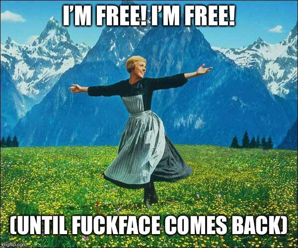 Julie Andrews | I'M FREE! I'M FREE! (UNTIL F**KFACE COMES BACK) | image tagged in julie andrews | made w/ Imgflip meme maker