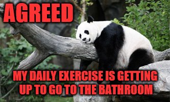 AGREED MY DAILY EXERCISE IS GETTING UP TO GO TO THE BATHROOM | made w/ Imgflip meme maker