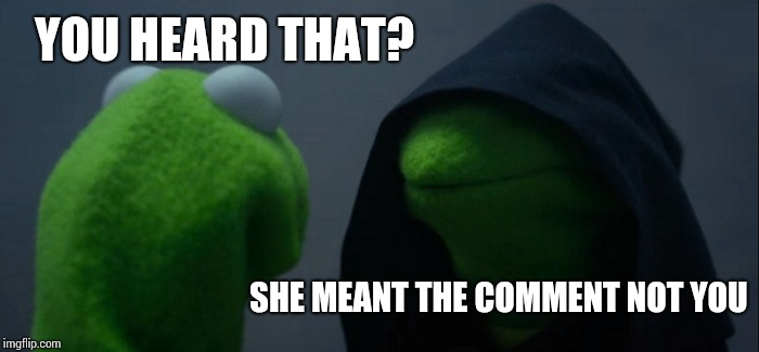Evil Kermit Meme | YOU HEARD THAT? SHE MEANT THE COMMENT NOT YOU | image tagged in memes,evil kermit | made w/ Imgflip meme maker