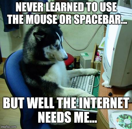Internet doesn't equal being smart... | NEVER LEARNED TO USE THE MOUSE OR SPACEBAR... BUT WELL THE INTERNET NEEDS ME... | image tagged in memes,i have no idea what i am doing | made w/ Imgflip meme maker
