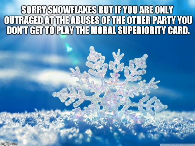 snowflake | SORRY SNOWFLAKES BUT IF YOU ARE ONLY OUTRAGED AT THE ABUSES OF THE OTHER PARTY YOU DON'T GET TO PLAY THE MORAL SUPERIORITY CARD. | image tagged in snowflake | made w/ Imgflip meme maker