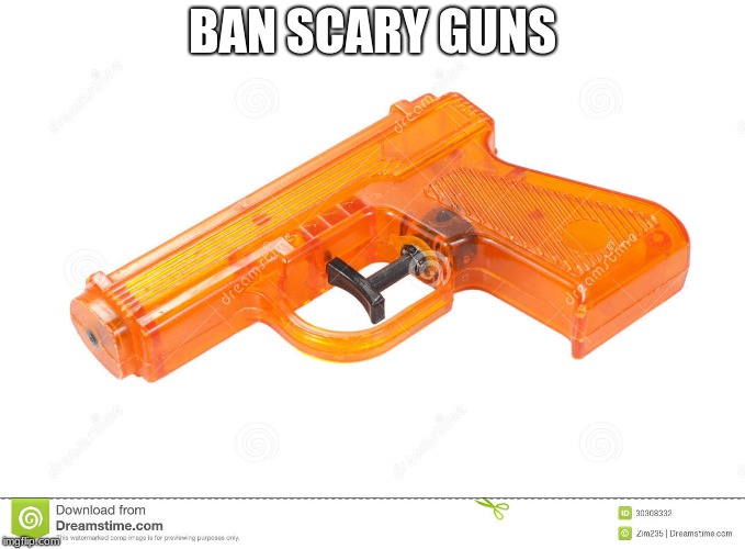 BAN SCARY GUNS | image tagged in water pistol | made w/ Imgflip meme maker
