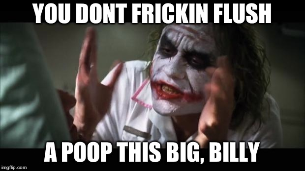And everybody loses their minds Meme | YOU DONT FRICKIN FLUSH A POOP THIS BIG, BILLY | image tagged in memes,and everybody loses their minds | made w/ Imgflip meme maker