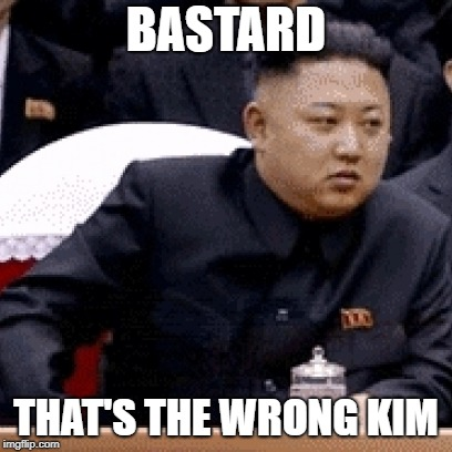 BASTARD THAT'S THE WRONG KIM | made w/ Imgflip meme maker