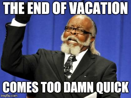 Too Damn High Meme | THE END OF VACATION COMES TOO DAMN QUICK | image tagged in memes,too damn high | made w/ Imgflip meme maker