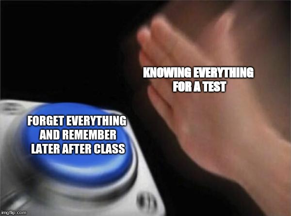Blank Nut Button Meme | KNOWING EVERYTHING FOR A TEST FORGET EVERYTHING AND REMEMBER LATER AFTER CLASS | image tagged in memes,blank nut button | made w/ Imgflip meme maker