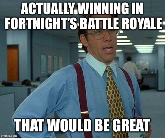 That Would Be Great Meme | ACTUALLY WINNING IN FORTNIGHT'S BATTLE ROYALE THAT WOULD BE GREAT | image tagged in memes,that would be great | made w/ Imgflip meme maker