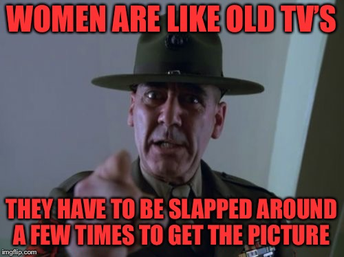 Sergeant Hartmann | WOMEN ARE LIKE OLD TV'S THEY HAVE TO BE SLAPPED AROUND A FEW TIMES TO GET THE PICTURE | image tagged in memes,sergeant hartmann | made w/ Imgflip meme maker