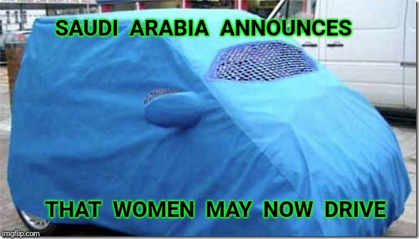 Halal! How are you? | SAUDI  ARABIA  ANNOUNCES THAT  WOMEN  MAY  NOW  DRIVE | image tagged in burka,saudi arabia,saudi,women,islam | made w/ Imgflip meme maker