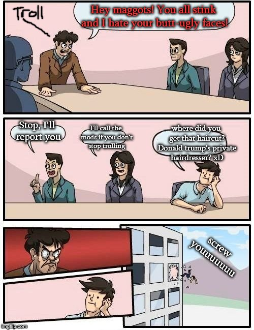 Fighting trolling with trolling. Always fun. | Hey maggots! You all stink and I hate your butt-ugly faces! Stop, I'll report you I'll call the mods if you don't stop trolling where did yo | image tagged in memes,boardroom meeting suggestion,lol,troll | made w/ Imgflip meme maker