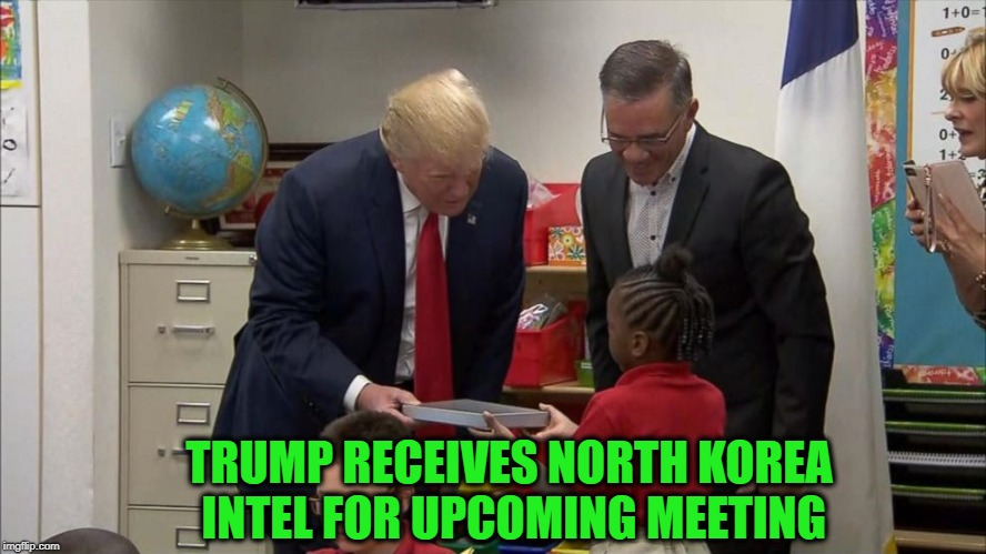 The Shallow Dive | TRUMP RECEIVES NORTH KOREA INTEL FOR UPCOMING MEETING | image tagged in trump,north korea,mike pompeo | made w/ Imgflip meme maker