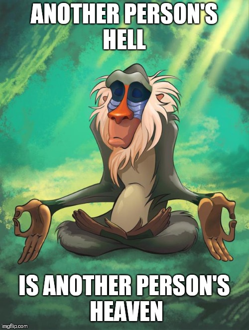 Rafiki wisdom | ANOTHER PERSON'S HELL IS ANOTHER PERSON'S HEAVEN | image tagged in rafiki wisdom | made w/ Imgflip meme maker