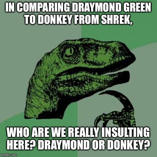 Philosoraptor Meme | IN COMPARING DRAYMOND GREEN TO DONKEY FROM SHREK, WHO ARE WE REALLY INSULTING HERE? DRAYMOND OR DONKEY? | image tagged in memes,philosoraptor | made w/ Imgflip meme maker