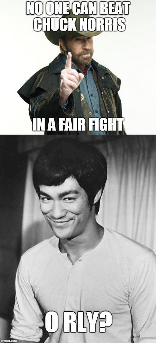Chuck Norris | NO ONE CAN BEAT CHUCK NORRIS IN A FAIR FIGHT O RLY? | image tagged in chuck norris,fair fight,bruce lee | made w/ Imgflip meme maker