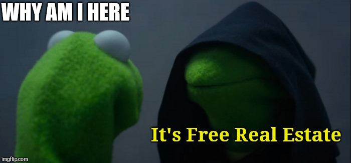 Evil Kermit Meme | WHY AM I HERE It's Free Real Estate | image tagged in memes,evil kermit | made w/ Imgflip meme maker