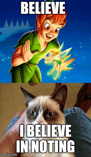 Grumpy Cat Does Not Believe | BELIEVE I BELIEVE  IN NOTING | image tagged in memes,grumpy cat does not believe,grumpy cat | made w/ Imgflip meme maker