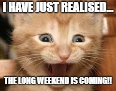 I HAVE JUST REALISED... THE LONG WEEKEND IS COMING!! | image tagged in long weekend | made w/ Imgflip meme maker