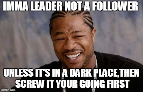 Yo Dawg Heard You Meme | IMMA LEADER NOT A FOLLOWER UNLESS IT'S IN A DARK PLACE,THEN SCREW IT YOUR GOING FIRST | image tagged in memes,yo dawg heard you | made w/ Imgflip meme maker